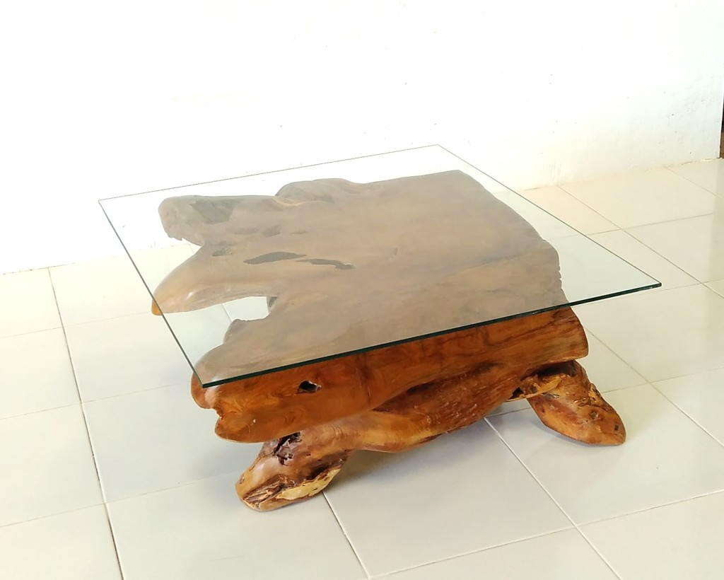 Teak Root Square Glass Top Coffee Table Prime Liquidations