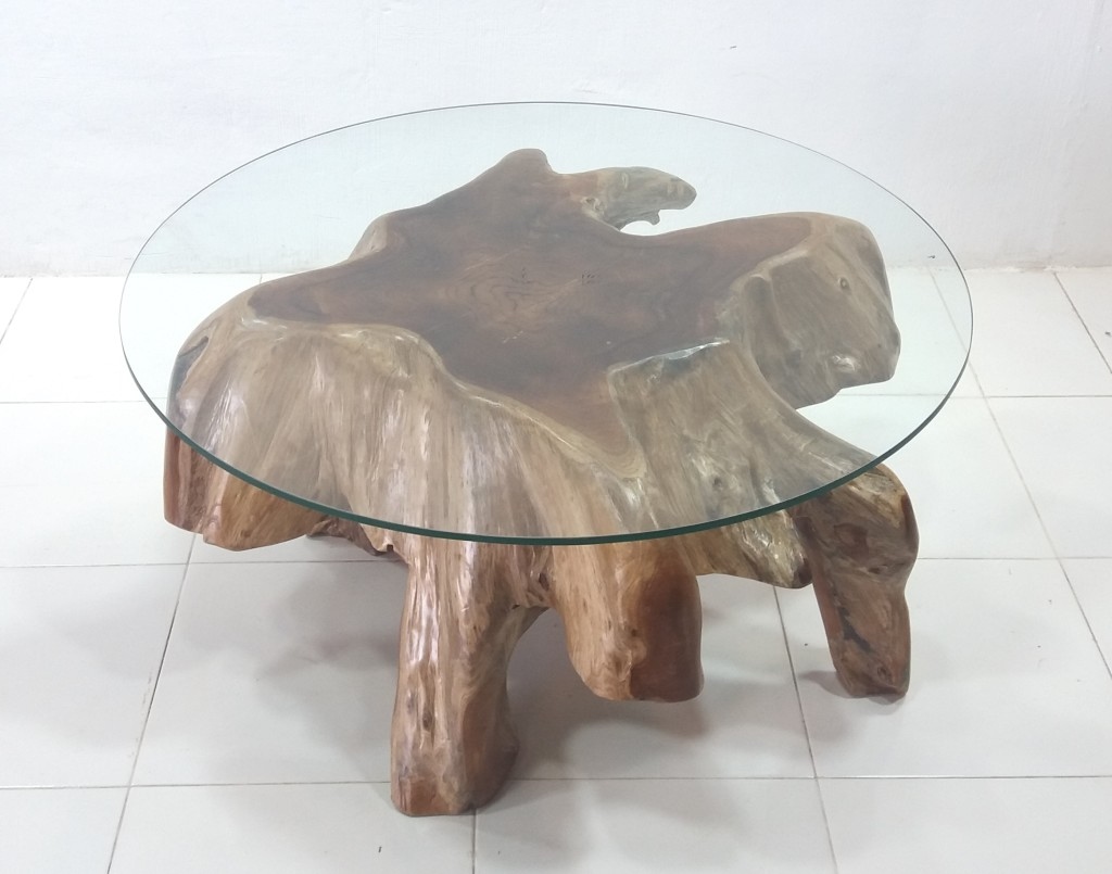 Strange Teak Root Round Glass Top Coffee Table Prime Liquidations Download Free Architecture Designs Scobabritishbridgeorg