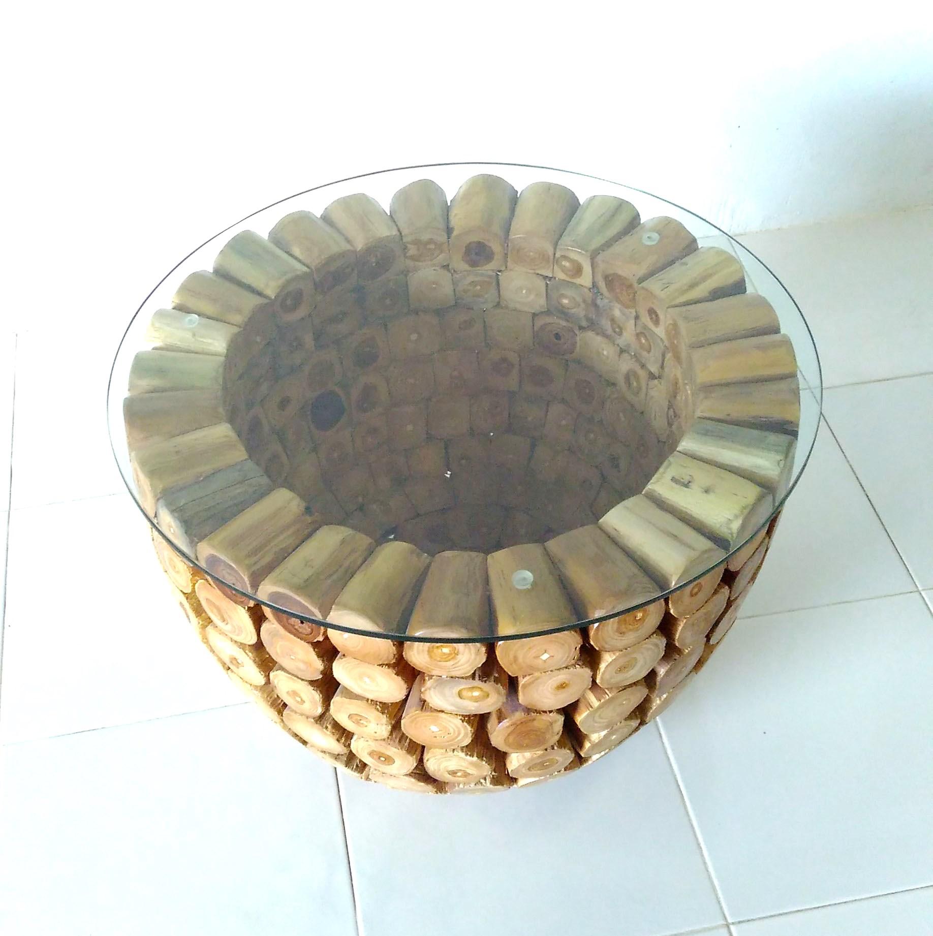 Teak Log Coffee Table With Glass Top